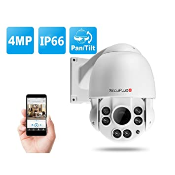 SecuPlug+ Outdoor HD Wired 4MP PTZ IP Speed Dome Camera with 4 0MP