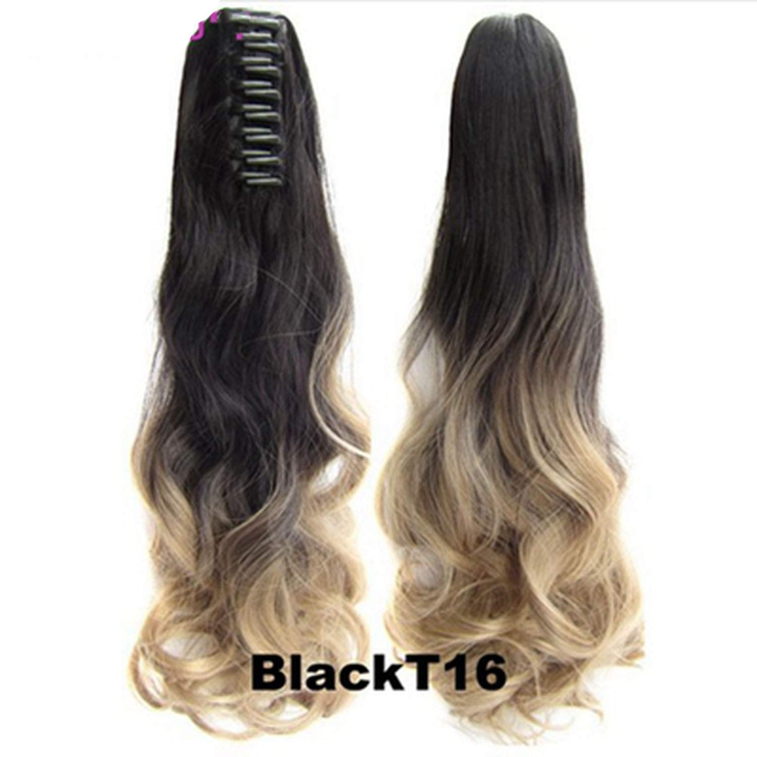 Hair Long Wy Ombre 20'' Clip On Hair Extensions Claw Pony Synthetic Hairpiece Heat Resistant Pony,#6/27,20inches