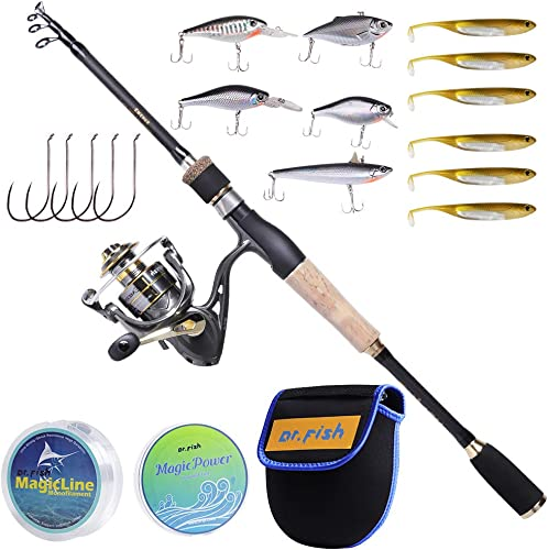 Dr.Fish Fishing Rod and Reel Combo, 5.9ft Carbon Fiber Telescopic Rod, 9 1BBs Spinning Reel, Cork Handle Lightweight Portable Travel Full Kit Complete Outfit Freshwater Bass Trout Fishing