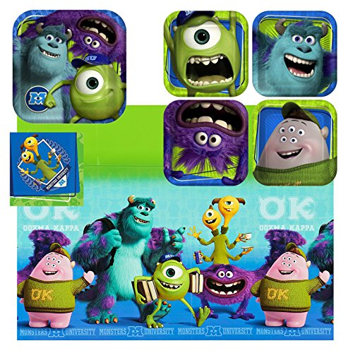 Hallmark - Disney Pixar Monsters University Party Plates, Napkins, And Tablecloth - Monsters Inc Party Supplies