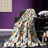 smallbeefly Sport Digital Printing Blanket Abstract Elements of Physical Activities Healthy Volleyball Soccer Recreation Themed Summer Quilt Comforter Multicolor