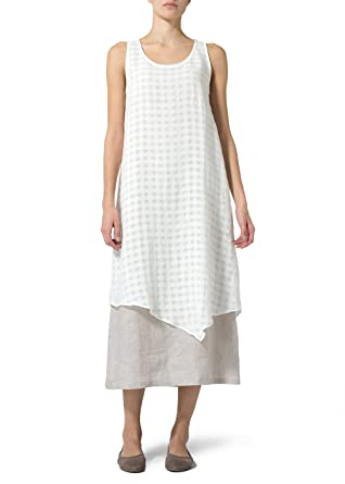 4a68194634 Vivid Linen Double Layered Long Dress at Amazon Women s Clothing store