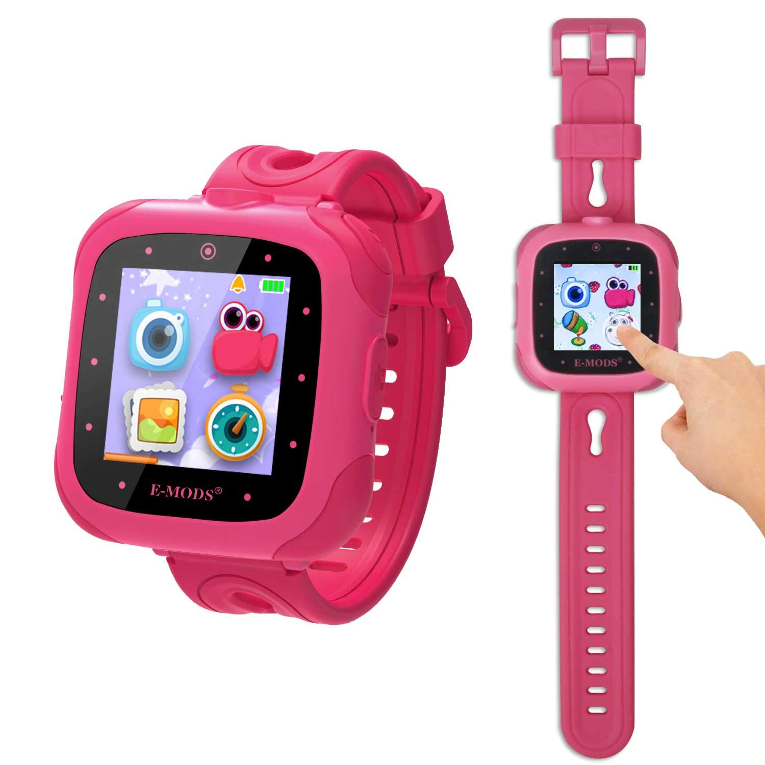 """E MODS Gaming Kid's Smart Watch Toy with Camera Digital Download Game Learning Smartwatch 1.5"""" Touchscreen Funny Games Gift for Girls Boys"""