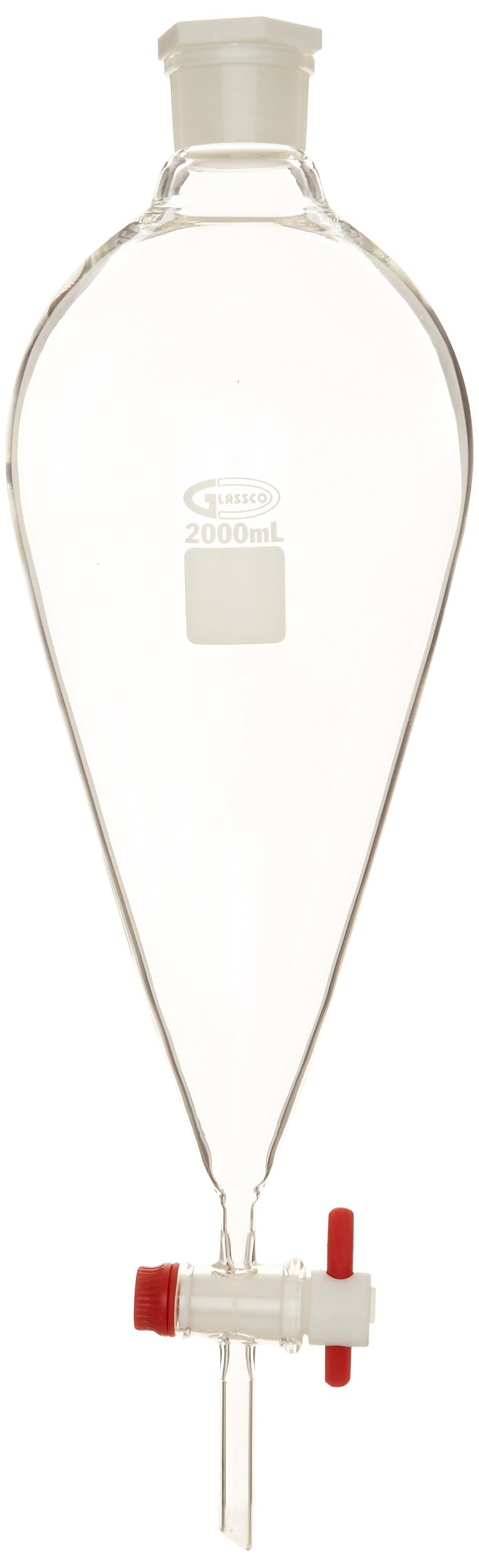 United Scientific SF149-2000 Glass Conical Seperatory Funnel with PTFE Stopcock and Plastic Stopper, 2000ml Capacity