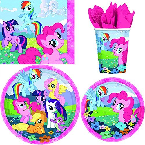 BirthdayExpress My Little Pony Table Ware Decoration Pack Including Plates, Napkins, and Cups