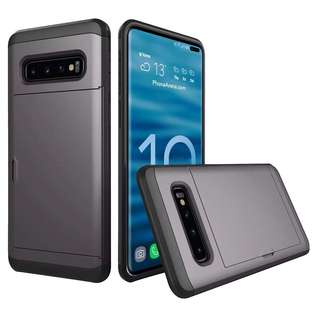 Cyhulu Samsung Galaxy Phone S10 Plus Case, Hot New Brushed Hard PC+Silicone Case Cover Card Holder for Samsung Galaxy S10 Plus 6.4 inch, 11 Color Available (Gray, One size)