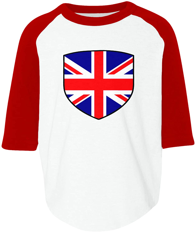 Amdesco Great Britain Shield United Kingdom British Flag Toddler Raglan Shirt