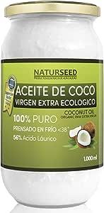 Naturseed Aceite de coco - Virgen Extra Organico, Ecologico - Puro, Natural - 1000ml - Para el Cabello y El Cuerpo, Facial, Dientes , Bebes, Para Cocinar - Masaje con Aceites Esenciales - Ebook Gratis