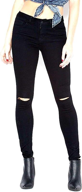 Ladies Slim Fit Skinny Knee Ripped Jeggings Womens Stretch Black Indigo Denim