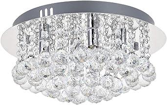 A1A9 Crystal Chandelier Lights, Modern Square Glass Droplet Ceiling Light Pendant Lamp, Flush Mount LED Chandeliers Fixture for Dining Room, Bedroom,