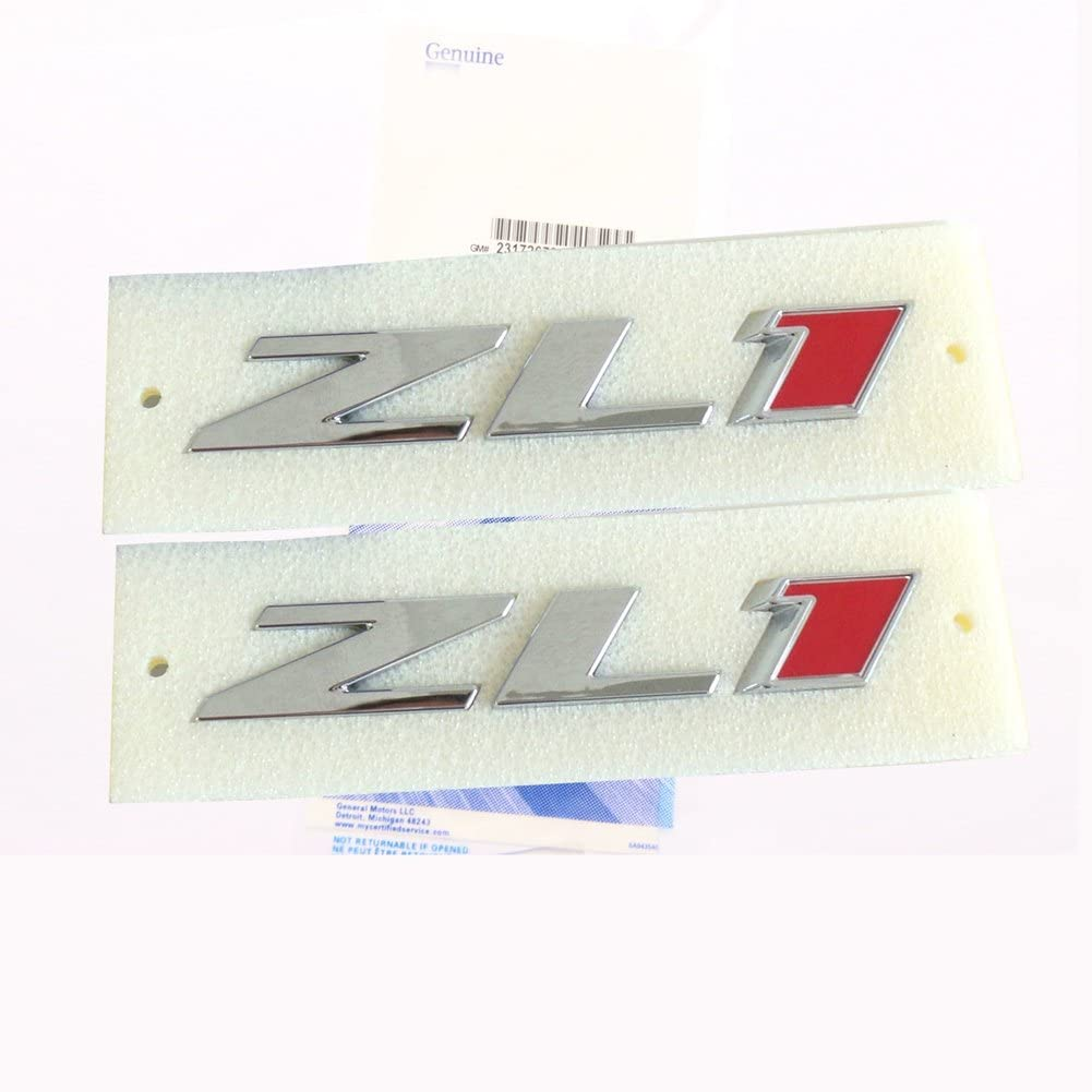 Yoaoo 2x Genuine Camaro ZL1 emblem badge letter Rear Side ZL1 Door OEM Chrome Red
