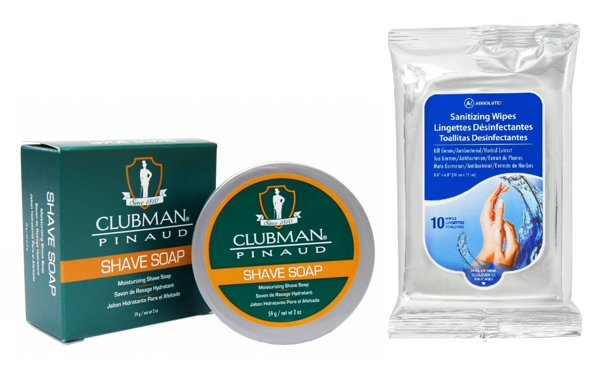 Amazon.com: Clubman Classic Shave Soap 2oz with Absolute Hand Sanitizing Wipes 10ct: Health & Personal Care