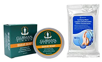 Clubman Classic Shave Soap 2oz with Absolute Hand Sanitizing Wipes 10ct