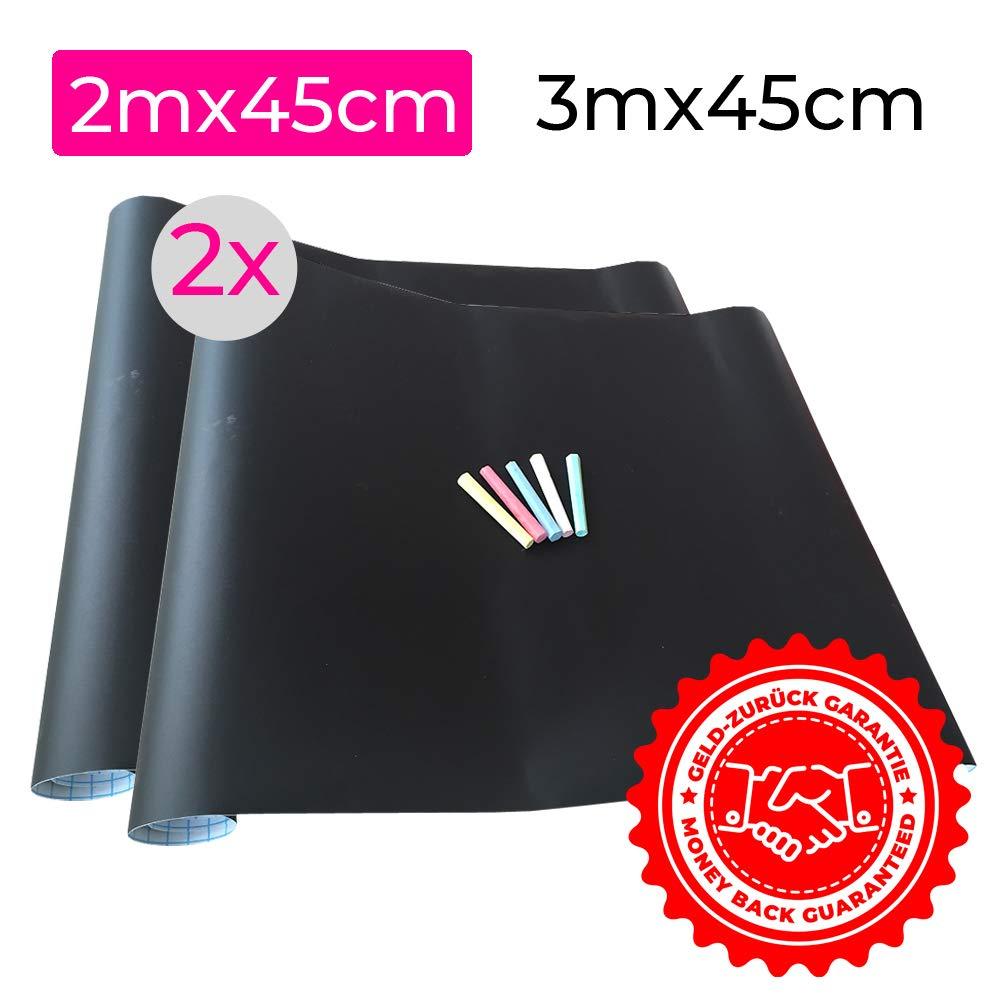 2x Papel Láminas Pizarra Negra Autoadhesivas 200 x 45 cm | Removible, Personalizable, Borrable | Pizarrón Negro para Escuela, Casa, Cocina, Oficina | ...