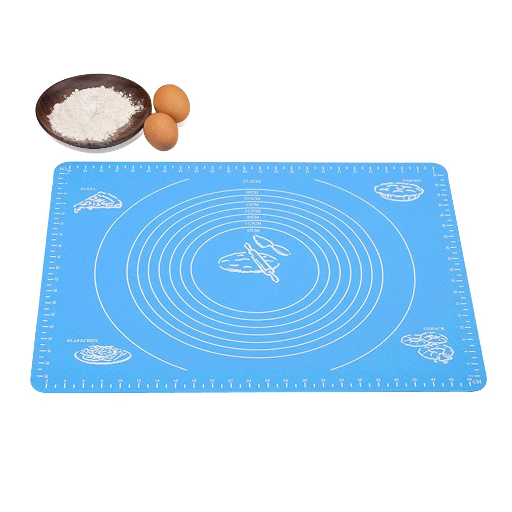 Silicone Baking Mat for Pastry Dough Rolling with Measurements, 15.7 x 19.7 Inches Extra Large Food Grade Reusable Nonstick pad, Heat Resistance Table Placemat Board, for Pastry Fondant