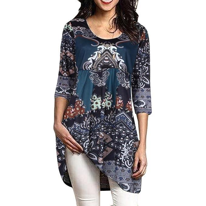 OHQ Camisetas Mujer Verano Blusa Manga Larga De Cinco Puntos con Estampado De Damas Blusa Suelta