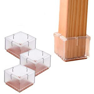 16PCS Transparent Square Chair Leg Wood Floor Protectors Silicone Furniture Chair Legs Caps Covers with Felt Pads fit 1-1/4 to 1-3/8 Inch (3.0-3.5cm)