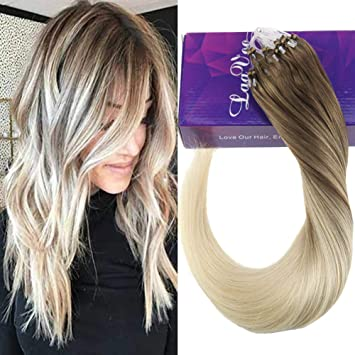 Laavoo 20zoll50cm Micro Ringe Silikon 1gs 50s Micro Beads Loops Haarverlangerung Hellbraun Balayage Ombre Blond 859 Glatt Remi Echt Haar