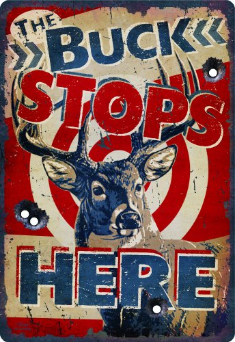 River's Edge The Buck Stops Here Hunting Themed Embossed Tin Sign, X-Large/12x17-Inch