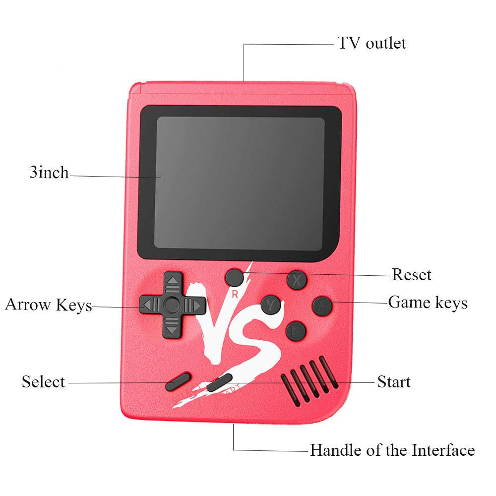 Kalolary Retro FC Handheld Game Console 500 Classic Games, 3 Inch Screen Support TV Video Game Player & 1 Joystick Controller, Birthday Presents for Kids to Adult (Red) by Kalolary (Image #4)