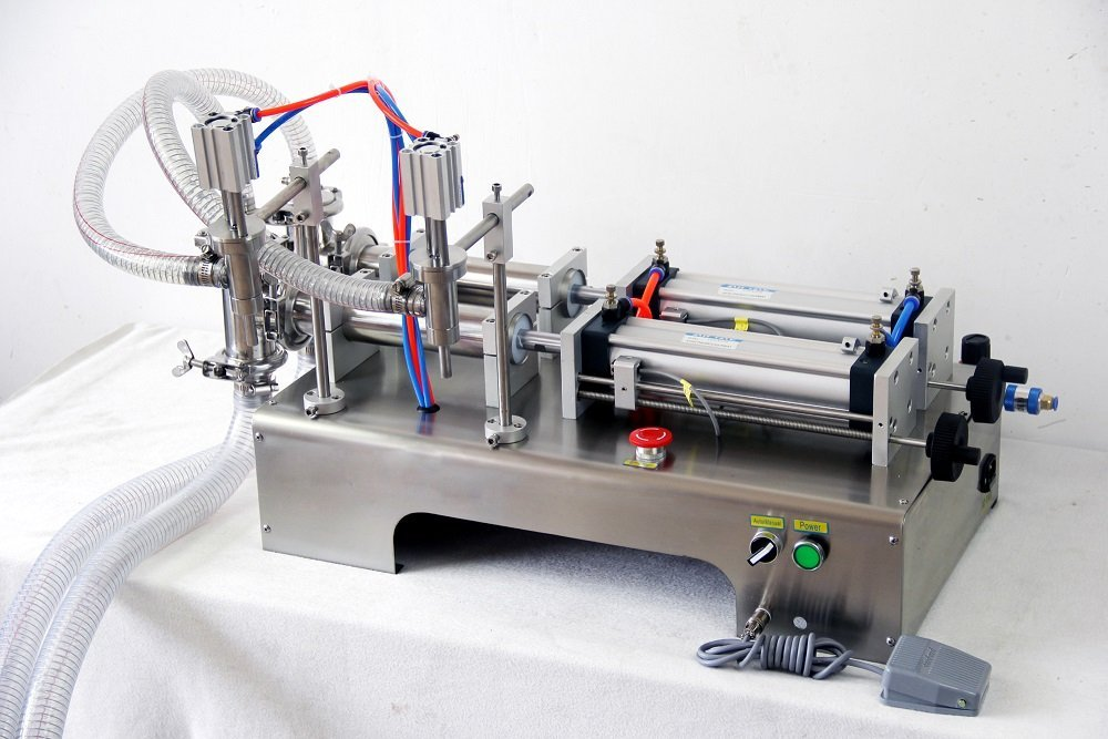 Double Heads Liquid Filling Machine G2W, With 2 Tube Pneumatic/Two Outlets 1000-5000ml 110V