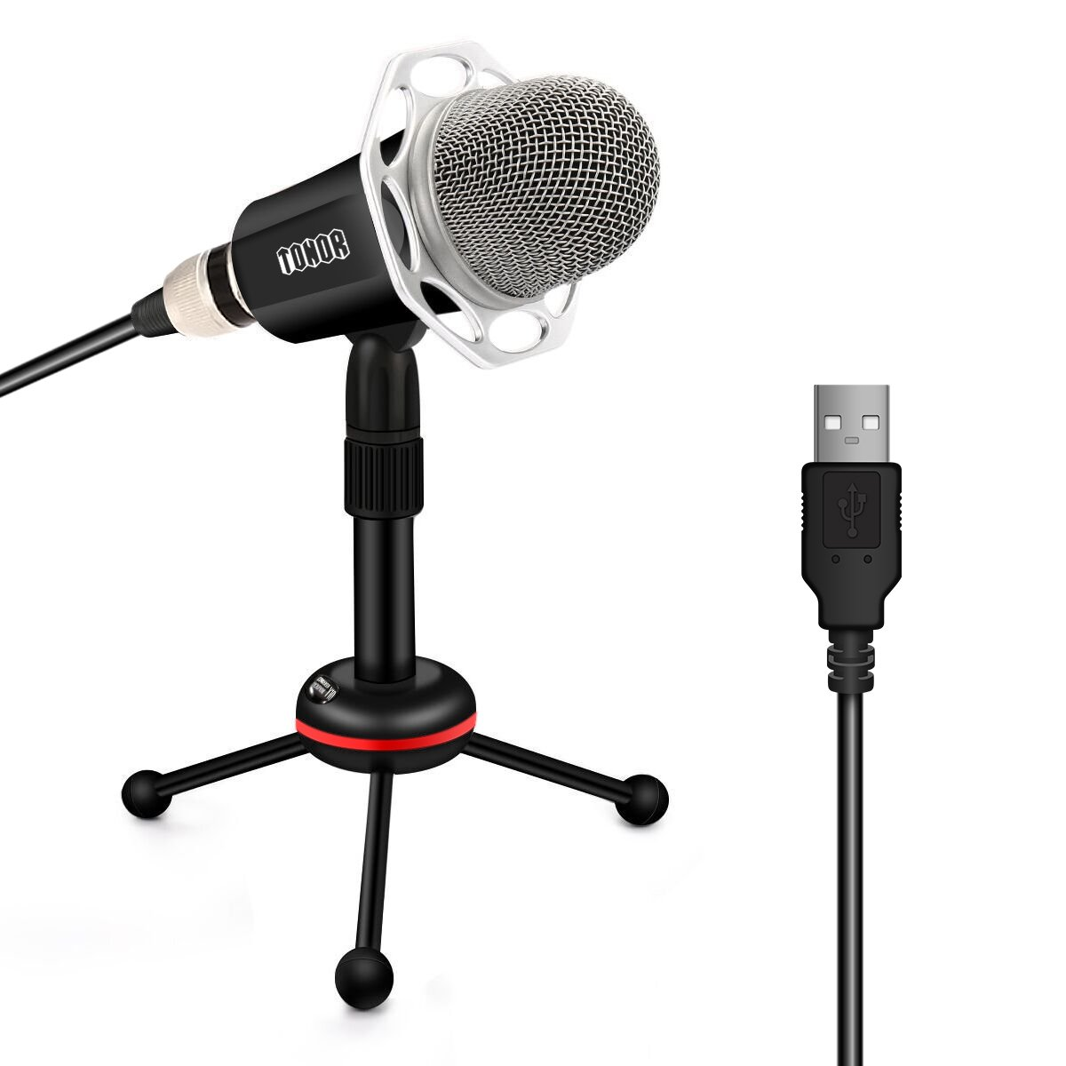 TONOR Microphone PC 3.5mm, Computer Condenser Studio Mic Plug & Play with Tripod Stand for Chatting/Skype/Youtube/Recording/Gaming/Podcasting for Macintosh Laptop Desktop Windows Computer
