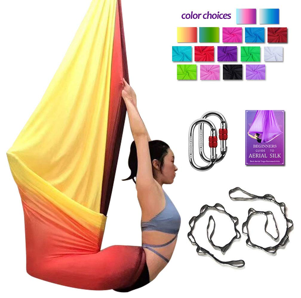 Gradual Change Red Aerial Yoga Hammock L 5M W 2.8M Aerial Pilates Silk Yoga Swing Set with 2000 Ibs Load Include Carabiner,Daisy Chain, Pose Guide