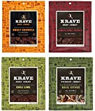 All Natural Jerky Variety Pack - Garlic Chili Pepper Beef, Sweet Chipotle Beef, Chili Lime Beef & Basil Citrus Turkey - 2.7 Ounces Each (Pack of 4)