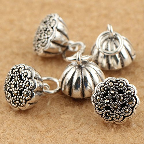 (MFMei Thai Sterling Silver Marcasite Lotus Flower Dangle Beads (CY095) (8mm))