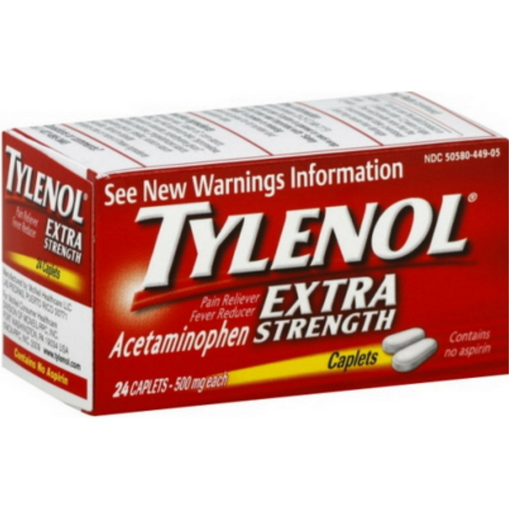 Tj - Tylenol Extra Strength Pain Relief 500 Mg - 2 Pack of 24 Caplets (48 Caplets Total)