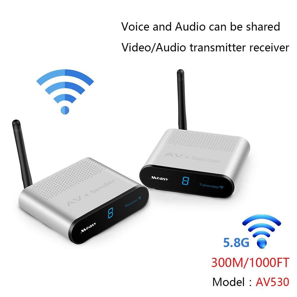 MEASY AV530 300M/1000FT 5.8GHZ AV RCA Wireless Audio Video Sender Transmitter and Receiver Support 8 Groups of Channels by Measy