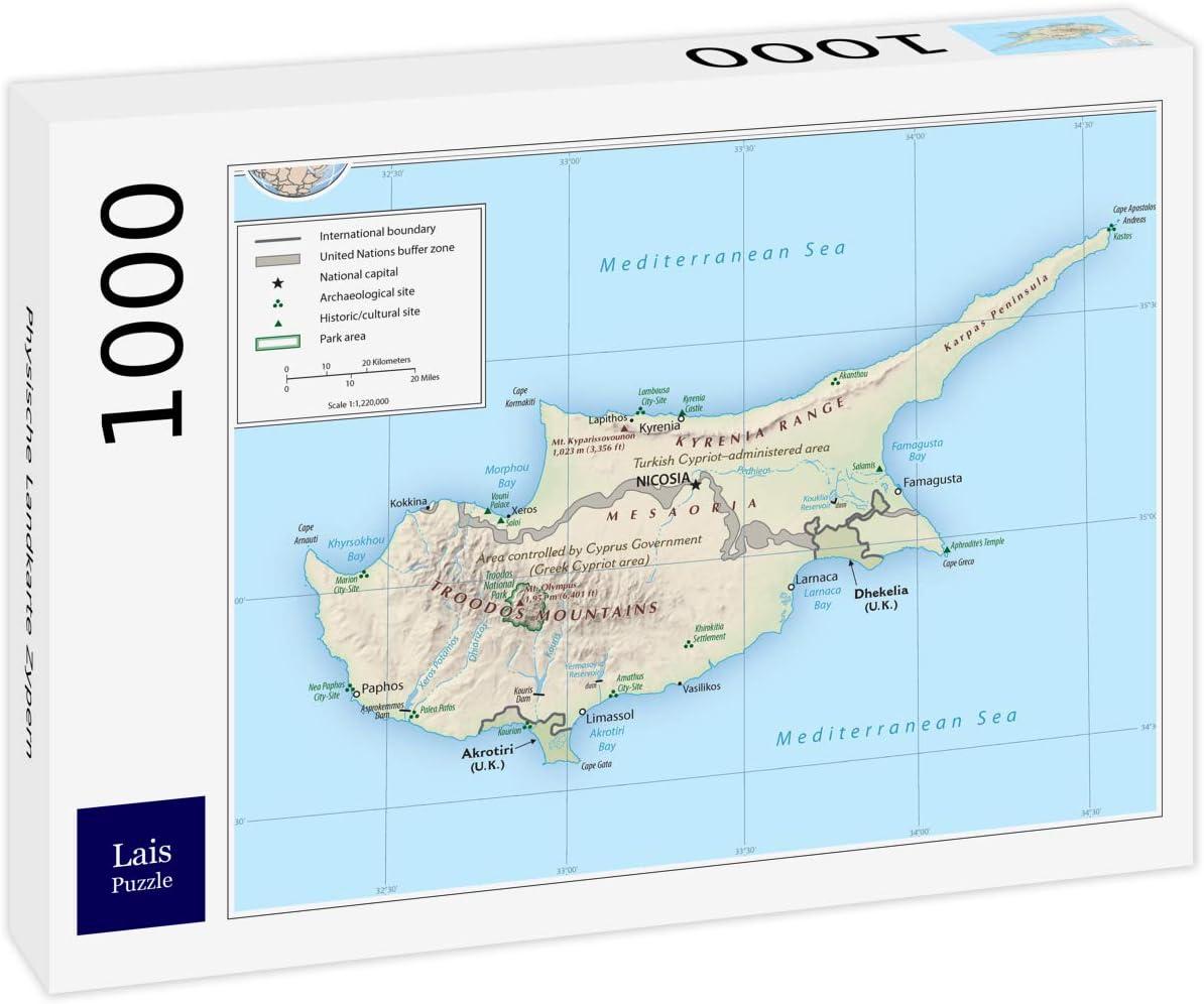 Lais Puzzle Mapa Físico Chipre 1000 Piezas: Amazon.es: Juguetes y juegos