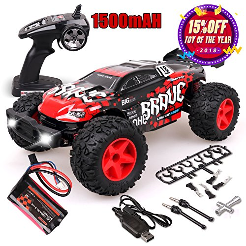 Remote Control Car, Rolytoy 1:12 Scale 4WD High Speed 48km/h RC Cars with 1500mAh Rechargeable Batteries, Electric Remote Control Off Road Truck, 2.4Ghz Radio Controller RC Buggy with LED Lights(Red)