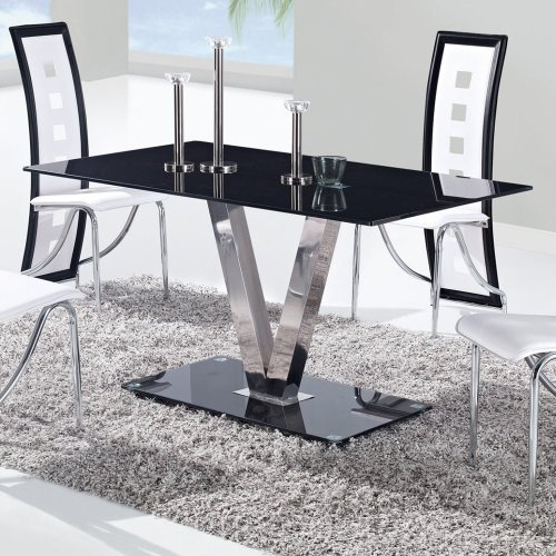 (Global Furniture Dining Table with Black/Stainless Steel Legs)