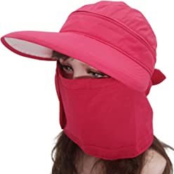 1b96c961 Roffatide Women's 3 in 1 Sun Hat with Neck Cover Face Mask Visor Cap UV  Protection