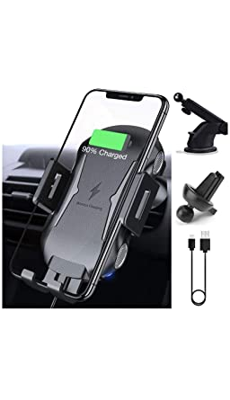 Wireless Car Charger Mount, Automatic Clamping Fast Charging Car Phone  Holder, Windshield Dashboard Air Vent 10W 7 5W Compatible with Apple,  Android,