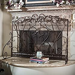 Adalia Black Brushed Gold Finish Wrought Iron Fireplace Screen by Great Deal Furniture