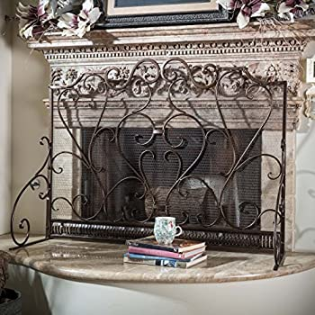 black iron fireplace screen. Adalia Black Brushed Gold Finish Wrought Iron Fireplace Screen Amazon Com