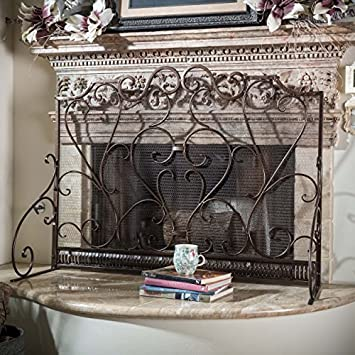 Buy Adalia Black Brushed Gold Finish Wrought Iron Fireplace Screen: Fireplace Screens - Amazon.com ? FREE DELIVERY possible on eligible purchases