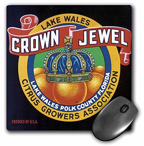 3dRose BLN Vintage Fruit and Vegetable Crate Labels - Vintage Lake Wales Crown Jewel Citrus Growers Association - MousePad (mp_129855_1)