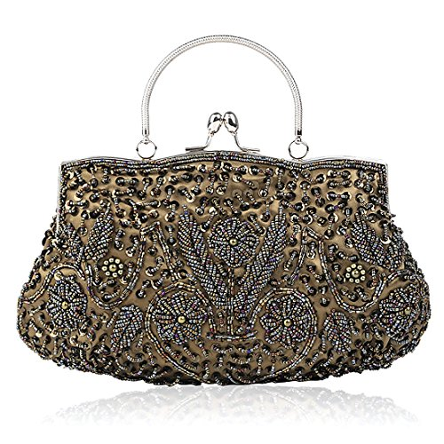 - SSMY Beaded Sequin Design Flower Evening Purse Large Clutch Bag (olive green)