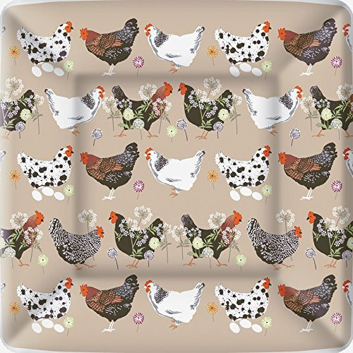 Chickens Paper (Boston International 8 Count Square Paper Dinner Plates, Spatter Hens Linen)