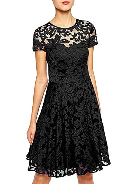 Image Unavailable. Image not available for. Color  Romacci Women Vintage  Floral Lace Skater Dress ... b423ba25f4