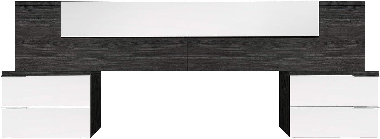 Habitdesign 016072G - Cabezal y mesitas, acabado Blanco Brillo y Gris Ceniza, medida 247 x 92 x 34cm