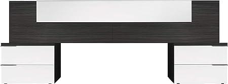 Oferta amazon: Habitdesign 016072G - Cabezal y mesitas, acabado Blanco Brillo y Gris Ceniza, medida 247 x 92 x 34cm