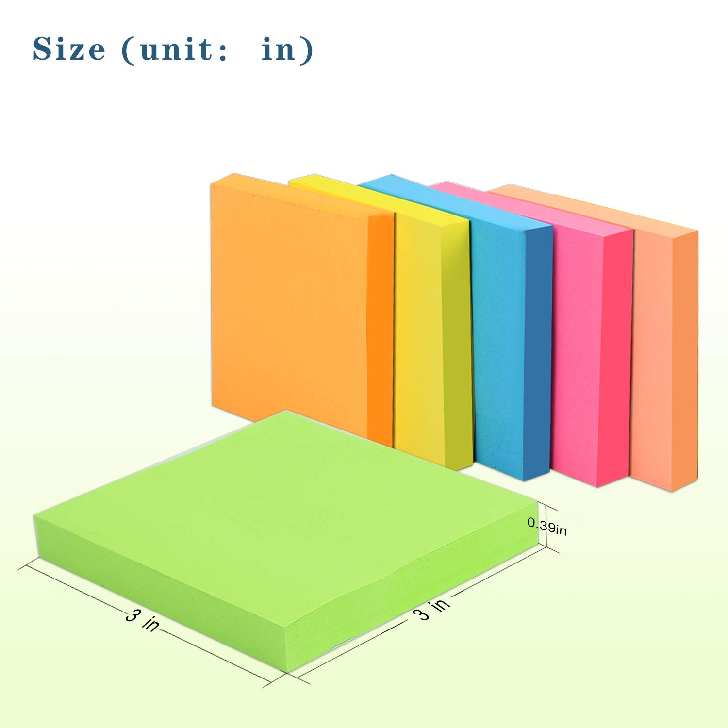 Sticky Notes 3x3 inch Mixed Colors for Reminders 6 Pads/Pack Total 600 Sheets