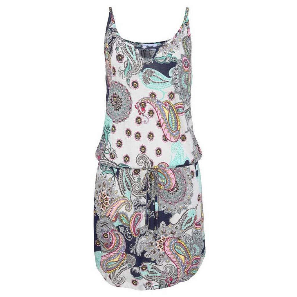 Dress ❤️Jonerytime❤️Women Casual Bohemia Printed Sleeveless Maxi Party Beach Dress Sundress