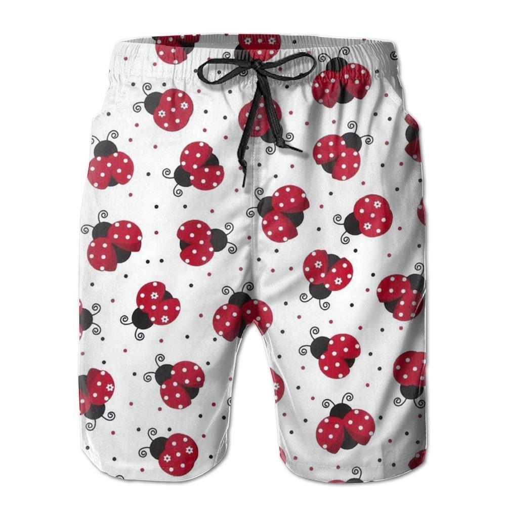 MIPU SHANGMAO Mens Lovely Ladybug Summer Beach Shorts Leisure Quick Dry Swimming Pants