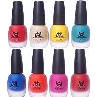 Makeup Mania Premium Velvet Matte Nail Paint Combo (Red, Nude, Yellow, Turquoise, Blue, Orange, Maroon, Pink (MM# 18-19))