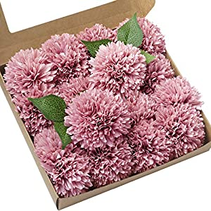 "Ling's moment Dusty Rose 4"" Flower Head Artificial Teddy Bear Sunflower Pack of 16 Ball Dahlia Silk Chrysanthemum Pompom Ball Hydrangea Flower with Stem for Home Garden Table Centerpieces Decor 2"